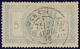 5 Et F En Bleu. No 33A, Obl Cad 17 De Marseille 27 Avril 76. - TB - 1863-1870 Napoléon III. Laure