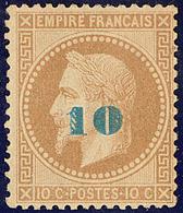 * Non émis. Surcharge Bleu Pâle. No 34a, Large Charnière Mais Très Frais Et TB. - R - 1863-1870 Napoléon III. Laure