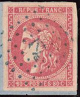 """Oblitérations.Ancre Bleue.  No 49 Sur Petit Fragment Avec Cad Octog. Bleu """"Le Cap Haïtien"""", Jolie Pièce. - TB - 1870 Emission De Bordeaux"""
