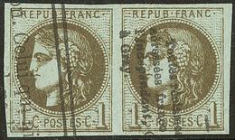 Oblitérations.Impression Typo. No 39IIIj, Paire, Jolie Pièce. - TB - 1870 Emission De Bordeaux