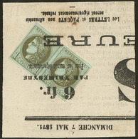 Oblitérations.Impression Typo. No 39IIIj Sur Petit Fragment De Journal. - TB - 1870 Emission De Bordeaux