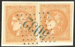 Oblitérations.gc Bleu. No 43IIf, 2 Ex Obl Gc 5032 Bleu De Geryville Sur Support, Ex Choisis. - TB - 1870 Emission De Bordeaux