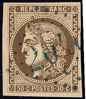 Oblitérations.gc Bleu. No 47, Obl Gc 2046C Bleu De Lille. - TB - 1870 Emission De Bordeaux