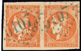 Oblitérations.Bureaux Français à L'étranger. No 48, Paire Obl Gc 5107 Bleu De Tunis (2 Frappes). - TB - 1870 Emission De Bordeaux