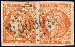 Oblitérations.Bureaux Français à L'étranger. No 48, Paire Obl Gc 5080 D'Alexandrie, Jolie Pièce. - TB - 1870 Emission De Bordeaux