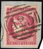 Oblitérations.Anglaises. No 49, Rose Foncé, Obl Gc A25 De Malte, Sur Son Support. - TB - 1870 Emission De Bordeaux