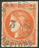 """Oblitérations.Espagnoles. No 48 Obl Cad Bleu """"ADMon De Cambio Barcelona"""". - TB (cote Maury 2009) - 1870 Emission De Bordeaux"""