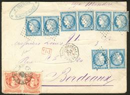 Lettre Afft Mixte France-Argentine. Nos 60A (4 Paires Dont Un Ex Def) + Arg. 18 (2), Sur Enveloppe Avec Cad Maritime Pou - 1871-1875 Cérès