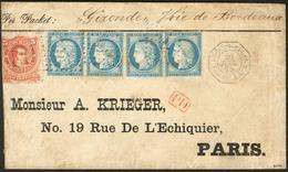 Lettre Afft Mixte France-Argentine. Nos 60C (paire + Deux Ex) Obl Ancre + Arg. 18, Sur Enveloppe Avec Cachet Maritime Po - 1871-1875 Cérès