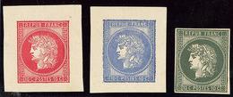"""(*) Essais Gaiffe 1876. 3 Essais """"10c"""" En Rouge, Bleu Et Vert. - TB (cote Maury) - 1871-1875 Cérès"""