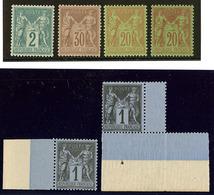 ** Nos 74, 80, 83 Bdf (2), 96, 96a, Très Frais. - TB - 1876-1878 Sage (Type I)