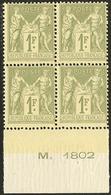 ** No 82, Vert-olive, Bloc De Quatre Bdf. - TB - 1876-1878 Sage (Type I)