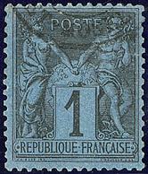 Bleu De Prusse. No 84, Fente Entre Deux Dents Mais Belle Nuance Et Centré, TB D'aspect. - R - 1876-1878 Sage (Type I)