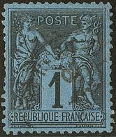 Bleu De Prusse. No 84, Réparé Dans Un Angle Et Qqs Dents Courtes Mais Belle Nuance, Bon Centrage Et TB D'aspect. - R - 1876-1878 Sage (Type I)