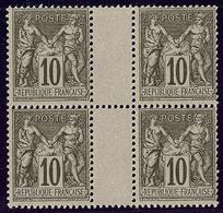 ** No 89, Noir Sur Lilas, Bloc De Quatre Interpanneaux, Très Frais. - TB - 1876-1878 Sage (Type I)