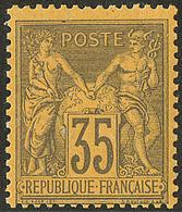 ** No 93, Violet Gris Sur Jaune, Très Frais. - TB - 1876-1878 Sage (Type I)