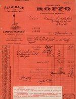 VP14.214 - Facture - Eclairage Par L'Incandescence - Lampes ¨ MARVEL ¨ Etablissements ROFFO à PARIS Place Voltaire - France