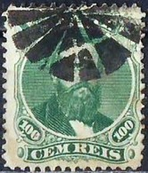 BRAZIL #0027  -  DOM PEDRO Ll   BLACK  BEARD  -  100 Rs GREEN - 1866 -  MUTE CANCELLATION - Brasil