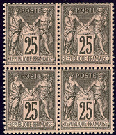 ** No 97, Noir Sur Rose, Bloc De Quatre (se Sépare Légèrement). - TB - 1876-1878 Sage (Type I)