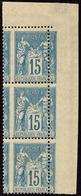 ** Piquage à Cheval. No 101f, Bande De Trois Verticale Cdf. - TB (N°et Cote Maury) - 1876-1878 Sage (Type I)