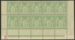 ** No 102, Vert-jaune, Bloc De Dix Bas De Feuille, Très Frais. - TB - 1876-1878 Sage (Type I)