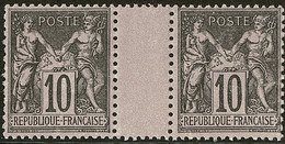 ** No 103, Noir Sur Lilas, Paire Interpanneaux. - TB - 1876-1878 Sage (Type I)