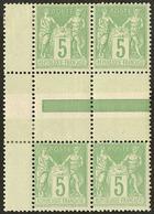 ** Types II Et I Se Tenant. No 106a, Deux Paire Verticale (dont Une *) Formant Bloc De Quatre Bdf. - TB - 1876-1878 Sage (Type I)
