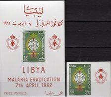 UNO Malariamücke 1962 Libya 119B+Block 3 ** 24€ Anti-Malaria WHO Hb Nature S/s Fauna Bloc Sheet Medicals M/s Bf WWF - Libye