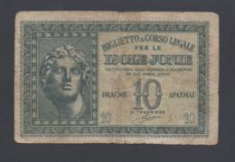 Banconota Grecia Isole Jonie 10 Dracme - Occupazione Italiana 1942 - Grèce