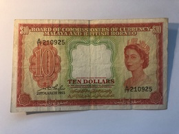 Billet Malaya And Britsh Borneo 10 Dollars - Malaysie