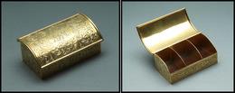 Boîte En Vermeil, Fin Décor Et Monogramme Guilloché Sur L'ensemble, 3 Comp. Palissandre, Poinçons Divers, 78x38x28mm, Su - Stamp Boxes