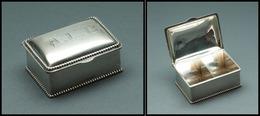 """Boîte En Argent, Monogramme """"ALE"""" Sur Couvercle, Poinçons, 2 Comp., 55x38x23mm. - TB - Stamp Boxes"""