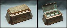 """Boîte """"Tiffany Studios NY N°1754"""" En Bronze, Décor Et Patine Chine Antique, 3 Comp., 140x90x60mm, Superbe. - R - Stamp Boxes"""