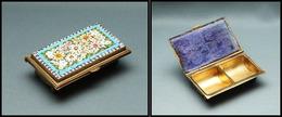 Boîte Italienne En Bronze Doré, Avec Superbe Mosaïque De Fleurs Multicolores En Décor Sur Couvercle, 2 Comp., 60x37x20mm - Boites A Timbres