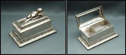 Boîte En Métal Argenté, Angelot En Relief Sur Couvercle, Poinçons, 2 Comp., 95x55x60mm. - TB - Boites A Timbres