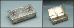 """Boîte En Métal Argenté, Décor En Relief Marqué """"L'Etude"""", 2 Comp., 63x35x16mm. - TB (cf BB P.80) - Boites A Timbres"""