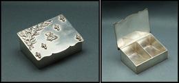 Boîte En Métal Argenté, Fleurs De Lys Et Salamandre Sur Couvercle, 2 Comp., 42x32x20mm. - TB - Stamp Boxes