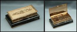 Boîte En Laiton Doré, Socle Marbre Vert, Fin XIXe, 3 Comp., 102x55x30mm. - TB - Stamp Boxes