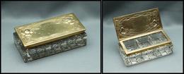 """Boîte Rectangulaire En Cristal, Couvercle Laiton Doré, """"Modern Styl'"""", 3 Comp., 105x50x30mm. - TB - Stamp Boxes"""