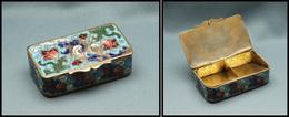 Boîte En émail, Cloisonné Laiton, Fleurs Sur Fond Bleu Ciel En Décor, 2 Comp., 65x35x20mm. - TB - Stamp Boxes
