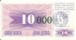 BOSNIE HERZEGOVINE 10000 DINARA 1993 UNC P 53 E - Bosnie-Herzegovine