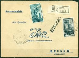 V9809 ITALIA REPUBBLICA 1947 Cartolina Commerciale Raccomandata Espresso Affrancata Con Cmpidoglio 100 L.+ - 6. 1946-.. Repubblica