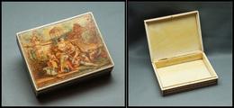 Boîte En Ivoire à Décor Romantique XVIIIe Peint Main, 1 Comp., 97x77x23mm, Superbe (cf BB P.62) - Boites A Timbres