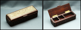 Boîte Rectangulaire En ébène à Décor Ajouré En Jade Sur Couvercle, 3 Comp., 125x45x28mm. - TB - Stamp Boxes