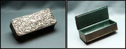 Boîte En Cuir Vert-bouteille, Couvercle En Argent, 1 Comp., 110x45x30mm. - TB - Boites A Timbres