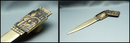"""Ouvre Lettres En Bronze Avec Boîte à Timbres Sur Le Manche, Marqué """"Israël"""" Et Au Verso Souvenir De """"Beer-Sheua"""", L.180x - Stamp Boxes"""