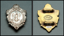 """Plaque De Facteurs. """"Administration Des Postes/Courriers"""", IIe Empire, Cuivre Argenté. - TB. - R (Florange # 754) - Boites A Timbres"""