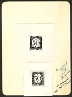 """(*) Taxe. Essai émission 1945. 2 Essais Différents En Noir """"50c"""" (N°30), Collés Sur Carte, Avec Mention """"13.8.43/ As Arr - Postage Due"""