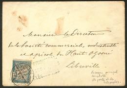 """Lettre Gabon. Taxe 18, Annulé Plume + Griffe Bleue """"Receveur Principal Comptable ..."""" Et Cad Libreville, Sur Enveloppe L - Gabon (1886-1936)"""