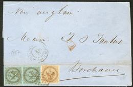 Lettre Guadeloupe. Nos 1 Paire Verticale + 3, Obl Losange Muet Sur Bulletin Maritime De Pointe à Pitre 1867 Pour Bordeau - Guadeloupe (1884-1947)